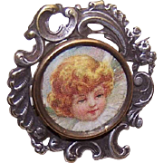 C.1900 French Silverplate Picture Pin/Brooch with Angel!