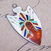 Vintage STERLING SILVER & Enamel Arrowhead Pendant - Indian Chief!