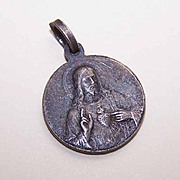 Vintage SILVERPLATE Religious Medal - Sacred Heart of Jesus/Our Lady of Perpetual Help!