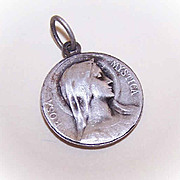 Vintage FRENCH SILVERPLATE Religious Medal - Virgin Mary - Dropsy Design!
