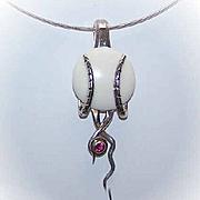 RETRO MODERN Sterling Silver & Garnet Pendant on Chain!