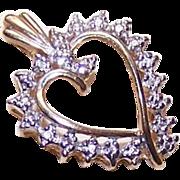 Vintage 10K Gold & Diamond Pendant - Heart Shaped!