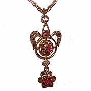 ANTIQUE EDWARDIAN 10K Gold, Synthetic Ruby & Glass Pearl Lavaliere/Pendant!