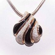 STERLING SILVER, Black Enamel & Gold Striped Pendant/Slider by Milor, Italy!