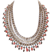 Vintage Triple Strand CHINA SILVER, Coral & Turquoise Fringe Necklace!