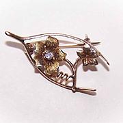 ANTIQUE EDWARDIAN 14K Gold & Diamond Sweetheart Pin/Brooch - Wishbone/Floral!