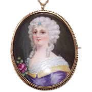 ANTIQUE EDWARDIAN 14K Gold & Hand Painted Porcelain Cameo Pendant/Pin Combo!