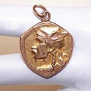 Art Nouveau FRENCH Gold Filled Vercingetorix Pendant/Medal by E. Fraisse!