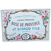 """C.1900 FRENCH Paper Label """"Rose de Provence"""" - Stunning Florals!"""