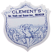 Pair of C.1900 Butterfly Cherub Label for Clements, Brandon, Manitoba!