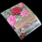 C.1900 FRENCH Cologne Paper Label - Eau de Roses