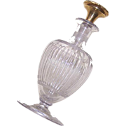 ANTIQUE EDWARDIAN Cut Glass Perfume Bottle with 14K Gold Stopper!