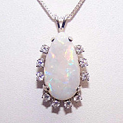 SALE ESTATE 14K Gold, 6CT Natural Opal & .50CT TW Diamond Pendant!