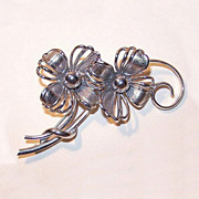 Stylized 1950s STERLING SILVER Floral Pin/Brooch by Forstner!