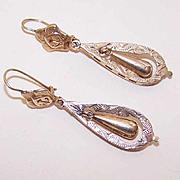 Swinging VICTORIAN & REVIVAL 14K Rose Gold Drop Earrings!