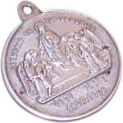 Dated 1882 FRENCH 800/900 Silver First Communion Medal!