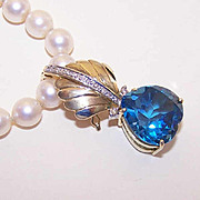 Ravishing ESTATE 14K Gold, Diamond & Blue Topaz Necklace Enhancer or Pendant!