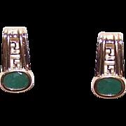 ESTATE 10K Gold & Faceted 1CT TW Emerald Half Hoop Earrings!