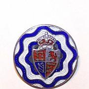 C.1900 Edwardian STERLING SILVER & Enamel Pin - British Coat of Arms!