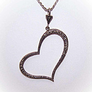 "Vintage STERLING SILVER & Marcasite ""Heart Shaped"" Pendant!"