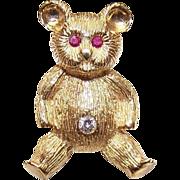 Vintage 18K Gold, Diamond & Ruby TEDDY BEAR Pin/Brooch!