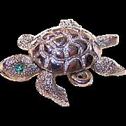 Vintage MONET Silverplate Charm - Mechanical Turtle!