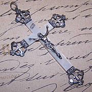 SOLD Dated 1903 FRENCH 800/900 Silver & Mother of Pearl Crucifix/Cross Pendant with Fleur
