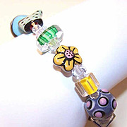 Vintage Sterling Silver & GLASS LAMPWORK Bead Bracelet!