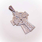 Vintage STERLING SILVER Celtic Cross Charm or Pendant - Double with Inside Inscription!