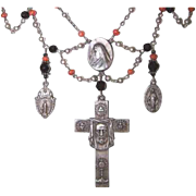 Upcycled STERLING SILVER, Black Crystal & Victorian Coral Religious Festoon Necklace!