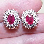 SALE GORGEOUS Estate 14K Gold, 2.22CT TW Diamond & Ruby Halo Earrings!