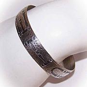 Flexible ARTS & CRAFTS Sterling Silver Cuff Bracelet!