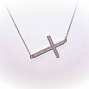 Vintage STERLING SILVER & Diamond Sideways Cross Necklace!