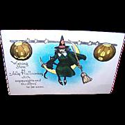 UNUSED Vintage Halloween Postcard Featuring a Witch, Black Cat & Pumpkins!