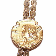 Art Nouveau FRENCH 18K Gold Filled Catch/Slide for Necklace - Joan of Arc Top!