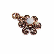 Dainty 14K GOLD, Enamel & Opal Pendant or Charm - A Simple Daisy!