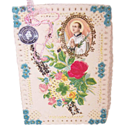 C.1910 Religious Card - Paper Lace with Glitter & Aluminum Medal!