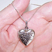 Vintage STERLING SILVER Locket Pendant - Heart with Etched Design!