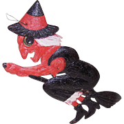 C.1940 GERMAN Pressed Paper WITCH ON A BROOMSTICK Ornament/Decoration!
