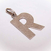 "Vintage 800/900 SILVER Initial Charm or Pendant - Letter ""R""!"