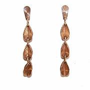 Lengthy RETRO MODERN 14K Gold Drop Earrings!