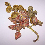 C.1900 FRENCH Variegated Silk Ribbon Floral Spray Applique!