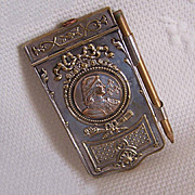 C.1900 FRENCH SILVERPLATE Carnet de Bal or Note Holder - Joan of Arc Front!