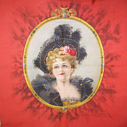 """Rare VICTORIAN """"Merry Widow"""" Pillow Top - Lovely Lady in Black!"""
