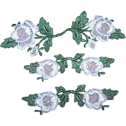 Set/3 Vintage Floral Appliques - 1 Large/2 Small - WHITE with Green Leaves!