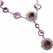 ANTIQUE EDWARDIAN 14K Gold, Amethyst & Natural Pearl Necklace!