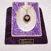 ART DECO 10K/14K Gold & Black Onyx Pendant Necklace in Original Box!