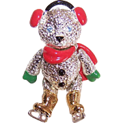 Adorable ARTICULATED Silver Tone & Enamel Pin/Brooch by Napier - Ice Skating Teddy Bear!