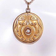 ART NOUVEAU Gold Filled & Rhinestone Locket Pendant by W&H Co!