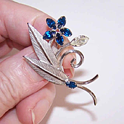 Lovely STERLING SILVER & Rhinestone Pin/Brooch - Floral with Leaves!